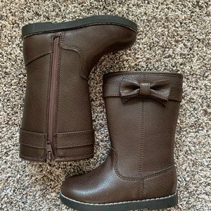 Tall dark brown toddler boots.